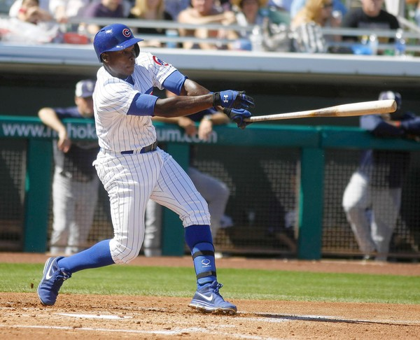 Alfonso Soriano hits against the Padres in the first inning. Cubs 9, Padres 2, 3/10/13 Cubs at Spring Training in Arizona