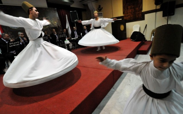 Whirling dervishes perform in the northern Lebanese city of Tripoli Picture: Ibrahim Chalhoub/AFP/Getty Images